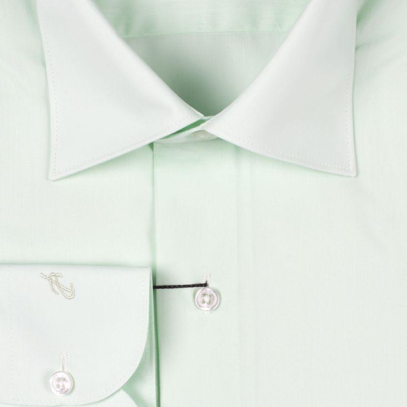 Рубашка салатовая однотонная приталенная