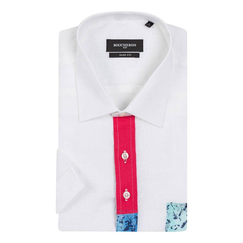 Рубашка льняная с короткими рукавами, приталенная