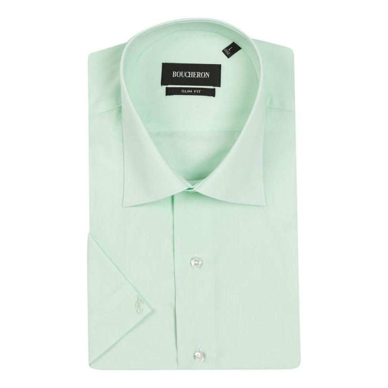 Рубашка салатовая с короткими рукавами приталенная