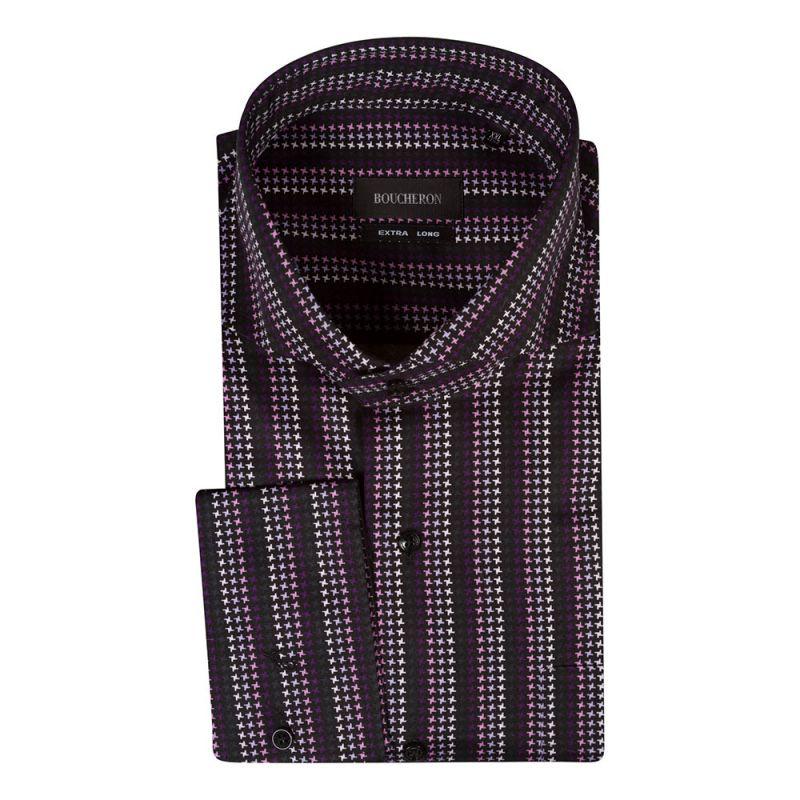 Рубашка фиолетовая в звёздочку неприталенная и удлинённая