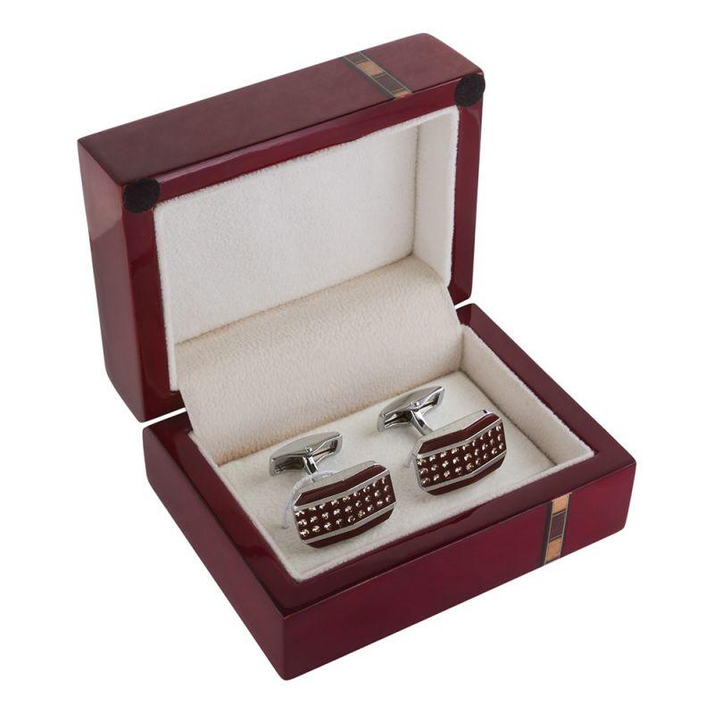 Прямоугольные запонки серебряного цвета с бордовой эмалью