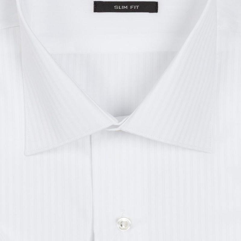 Рубашка белая в полоску, с короткими рукавами, приталенная