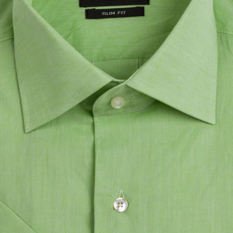 Рубашка зелёная с короткими рукавами приталенная