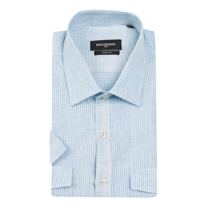 Рубашка голубая в полоску, из льна, приталенная