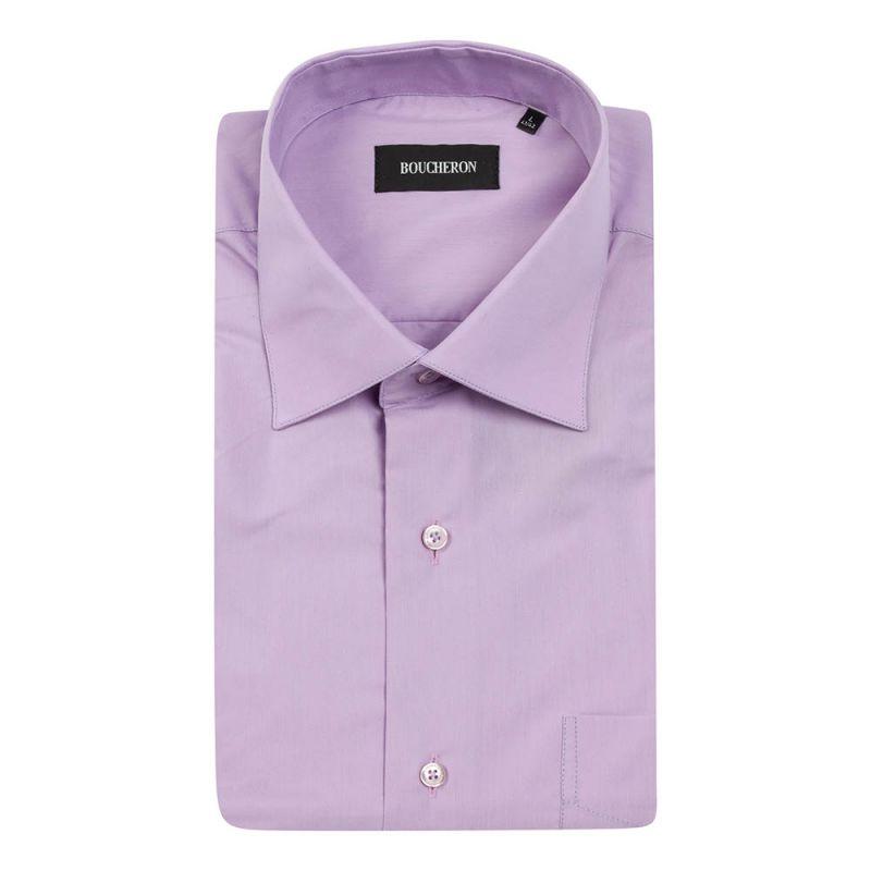 Рубашка с короткими рукавами, сиреневая, однотонная неприталенная