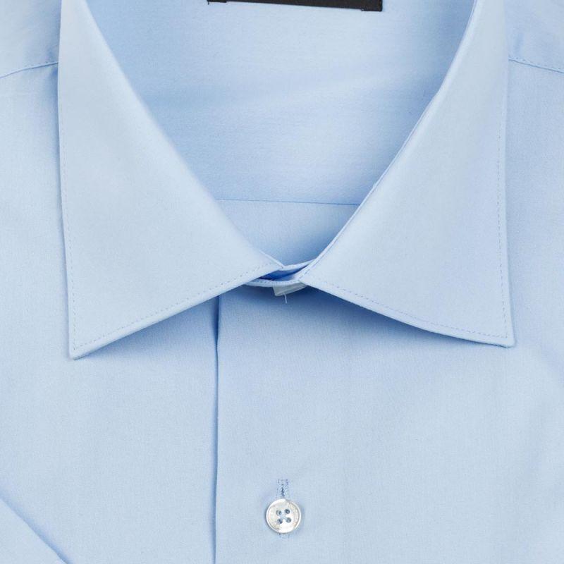 Рубашка голубая однотонная с короткими рукавами неприталенная