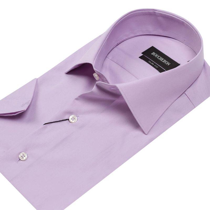 Рубашка сиреневая с короткими рукавами приталенная