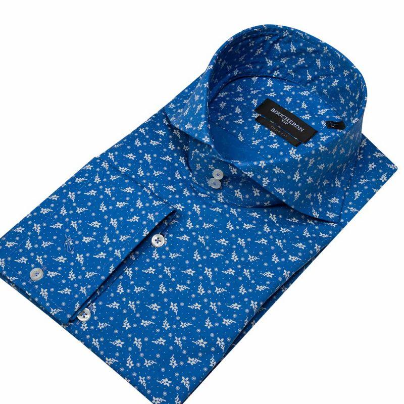 Рубашка голубая с цветами приталенная