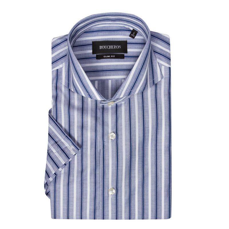 Рубашка сине-бело-голубая в полоску, с короткими рукавами, приталенная