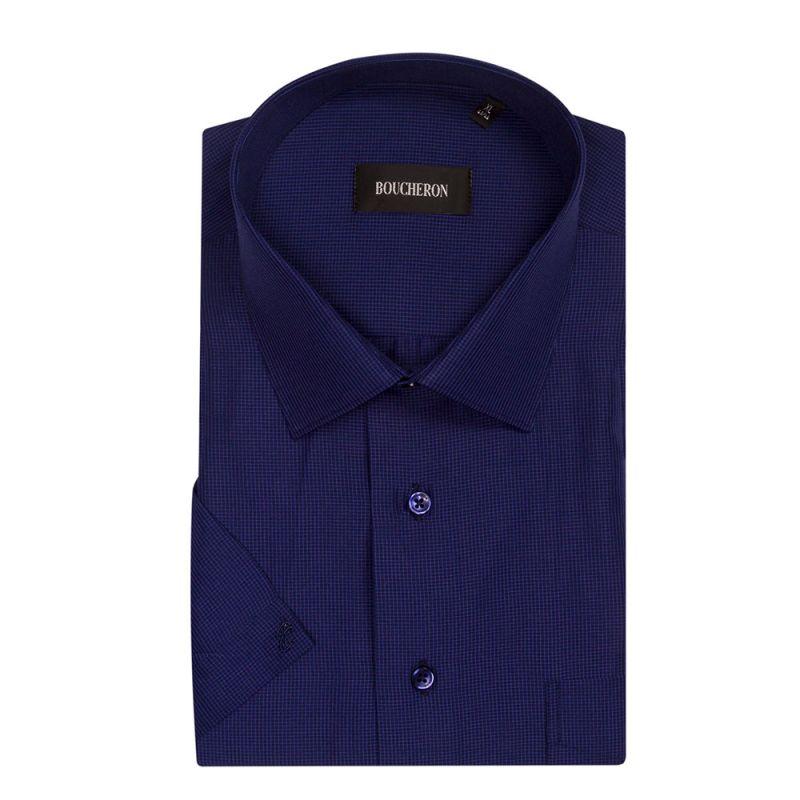 Рубашка тёмно-синяя в мелкую клетку, с короткими рукавами, неприталенная