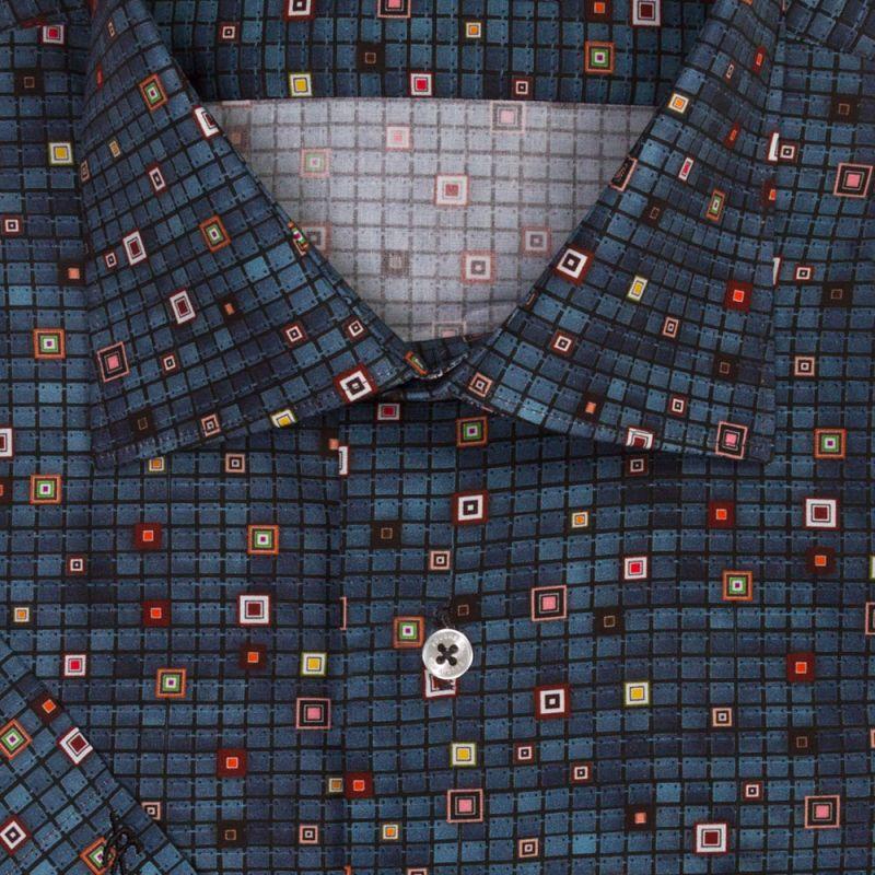 Рубашка в клетку и в горошек, с короткими рукавами, приталенная