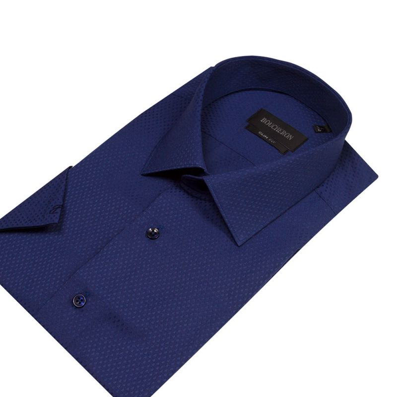 Рубашка синяя с выделкой, с короткими рукавами, приталенная