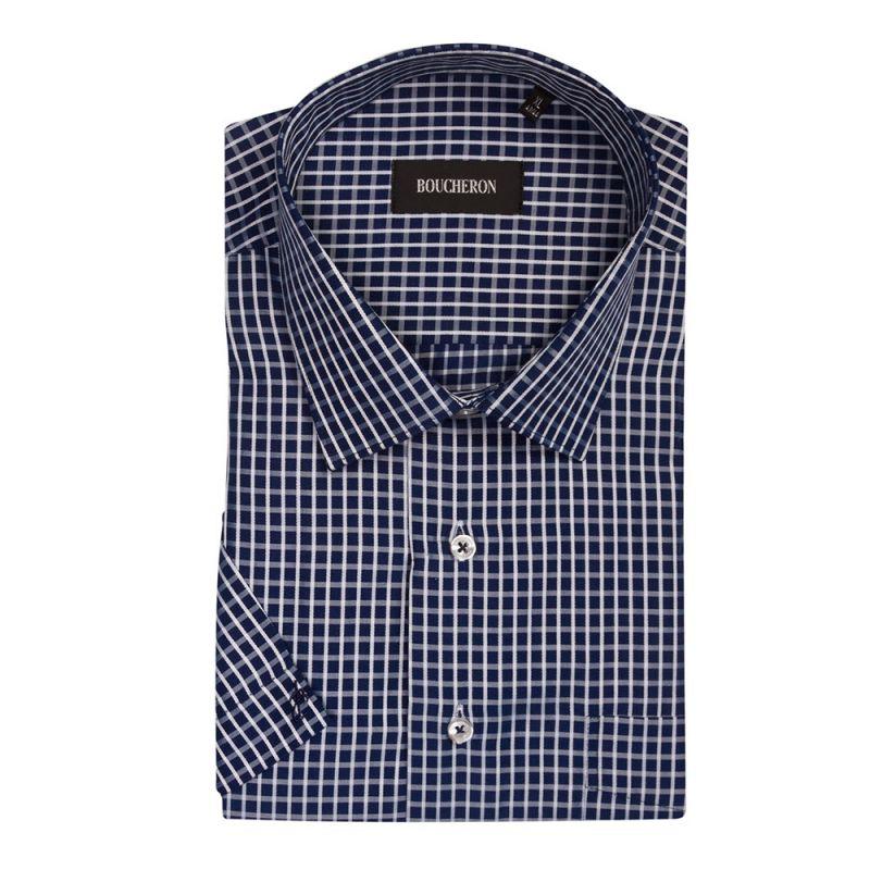 Рубашка сине-белая в клетку, с короткими рукавами, неприталенная