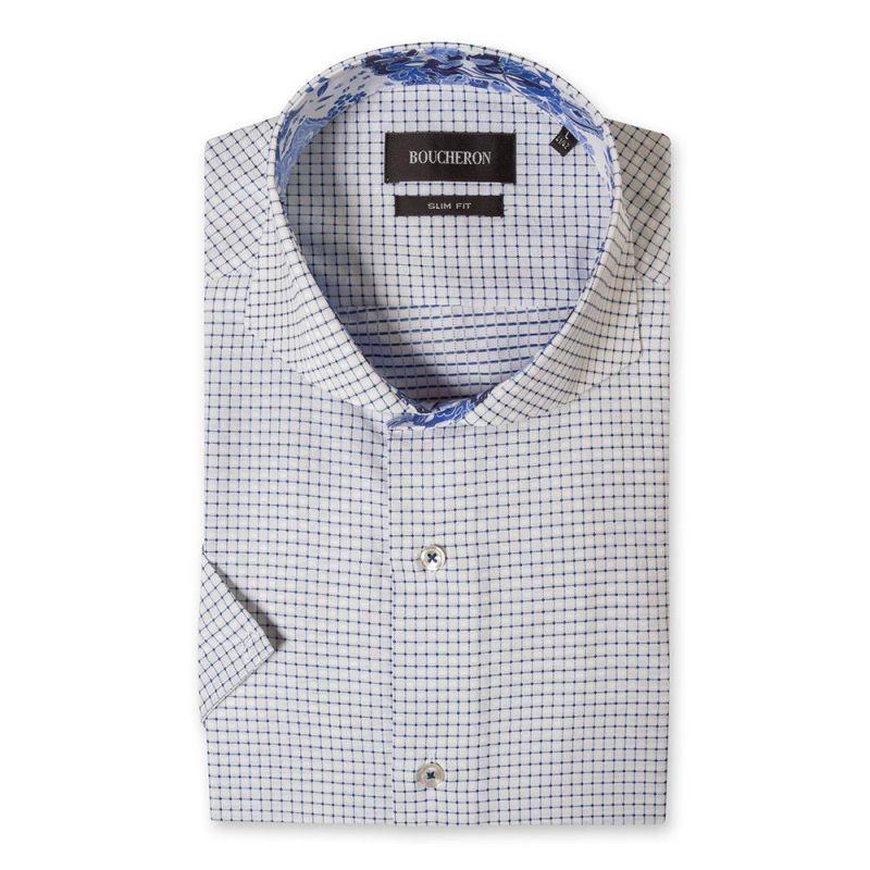 Рубашка в клетку с короткими рукавами приталенная