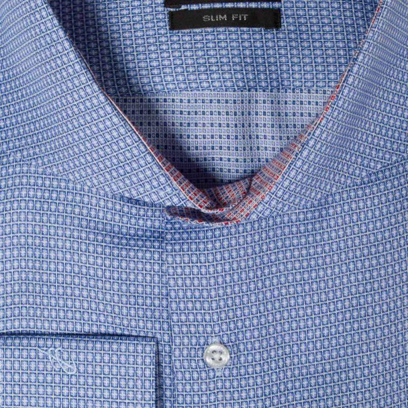 Рубашка синяя в белый квадрат, приталенная, удлинённая