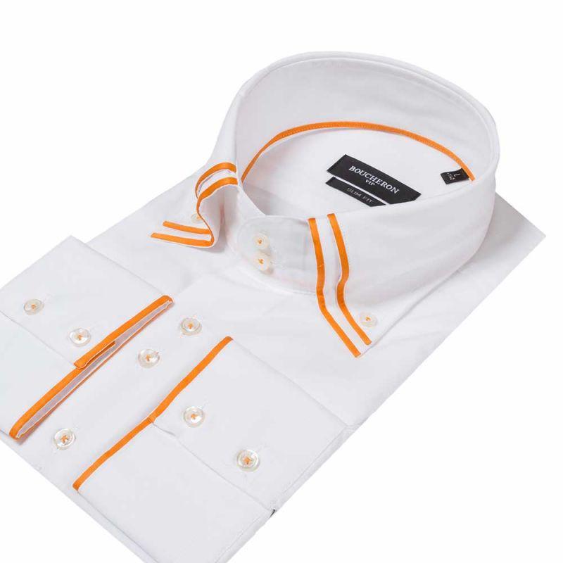 Белая рубашка с двойным воротником, приталенная