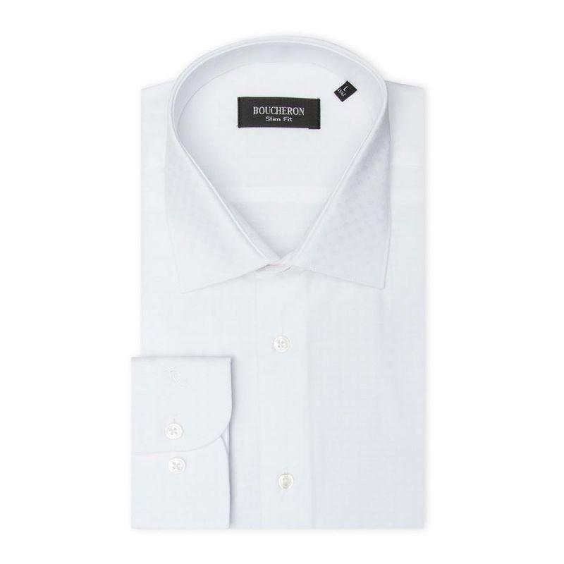 Рубашка белая с выделкой, приталенная