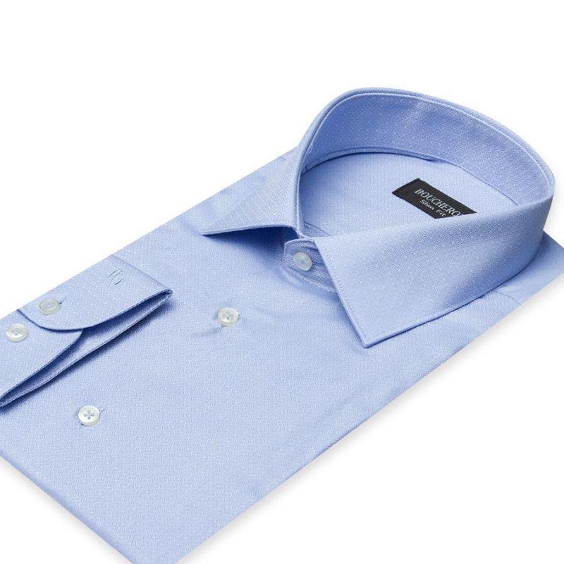 Рубашка голубая с выделкой, приталенная и удлинённая