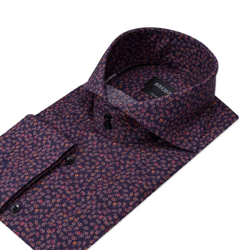 Рубашка фиолетовая с цветами приталенная
