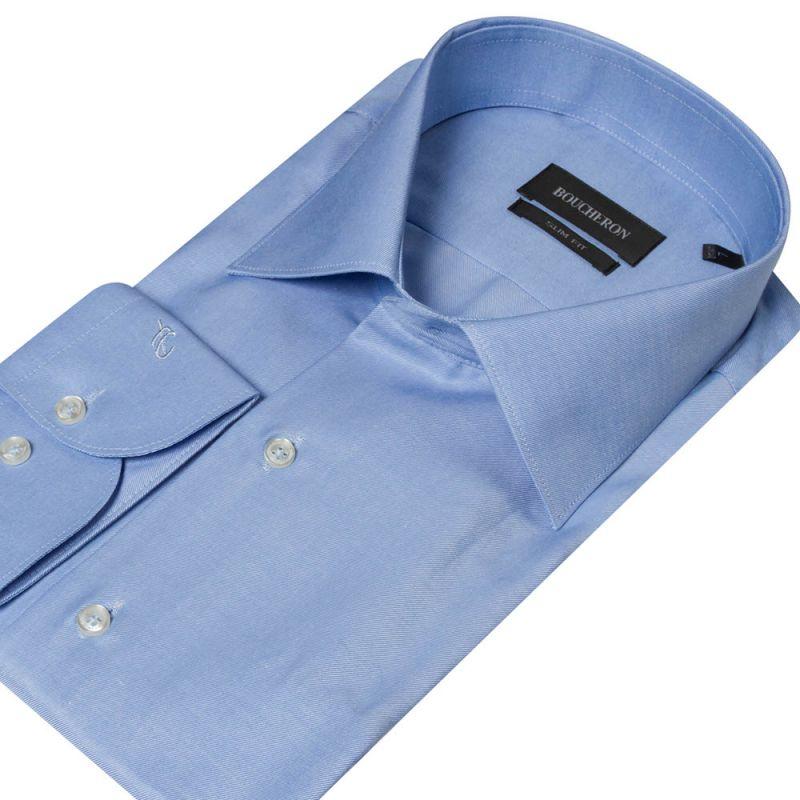 Рубашка голубая приталенная