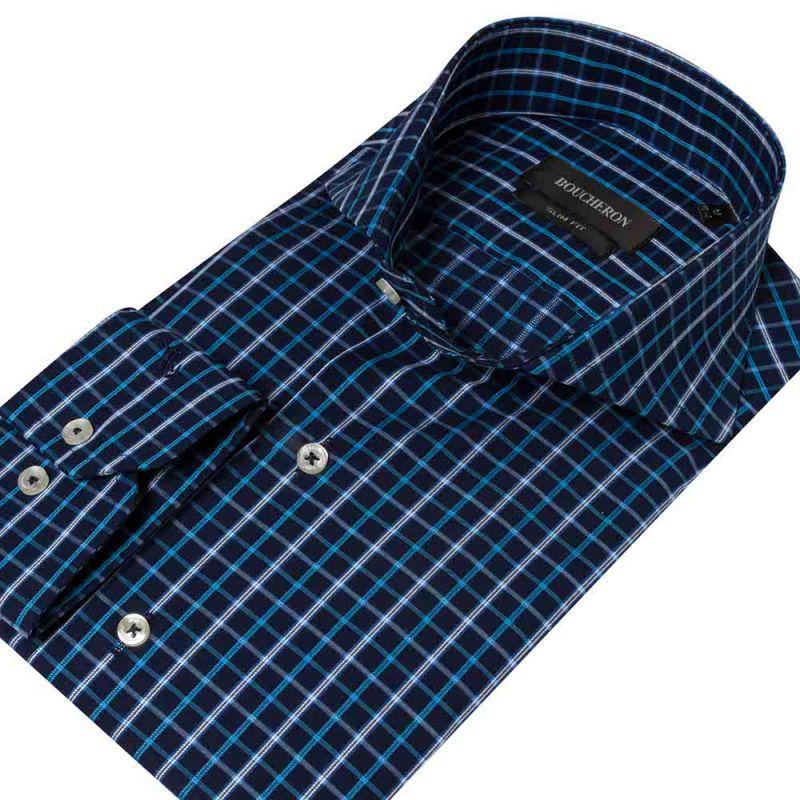 Рубашка синяя в клетку приталенная