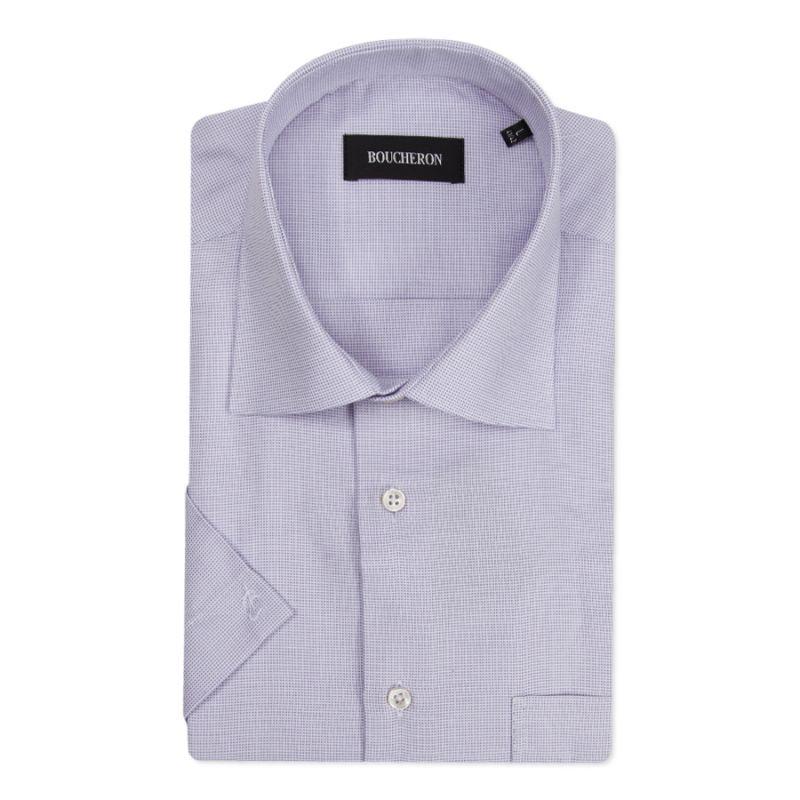 Рубашка сиреневая в клетку с короткими рукавами неприталенная