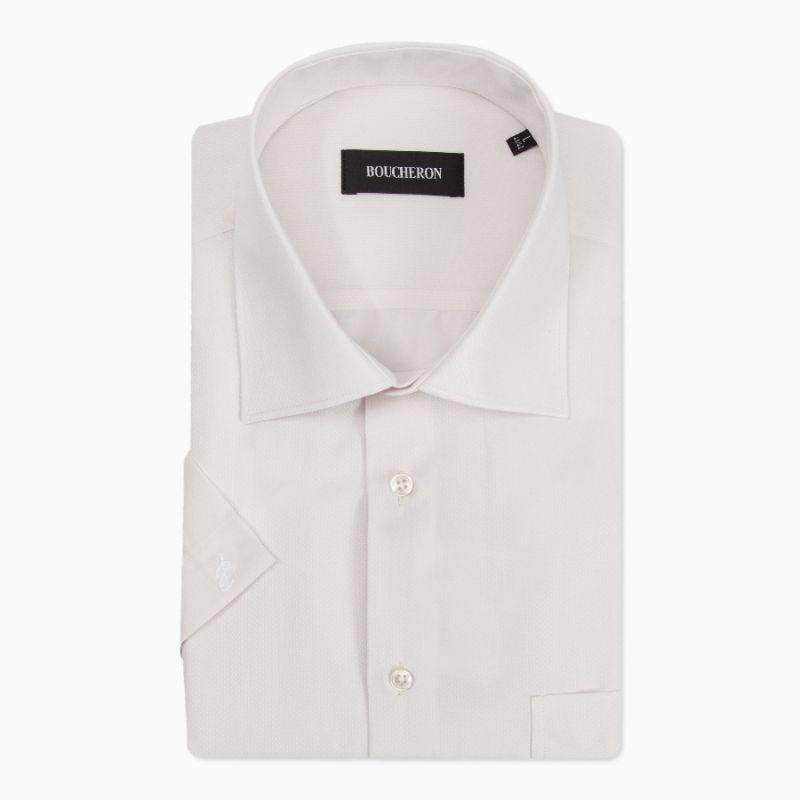 Рубашка айвори с выделкой с короткими рукавами, неприталенная