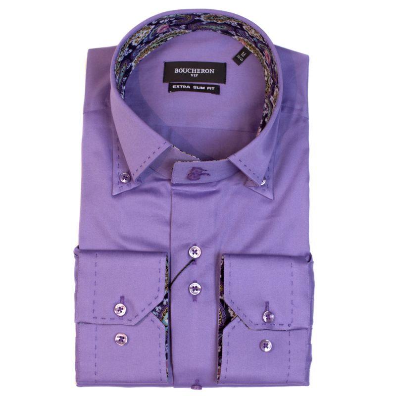 Рубашка фиолетовая однотонная с огурцами зауженная