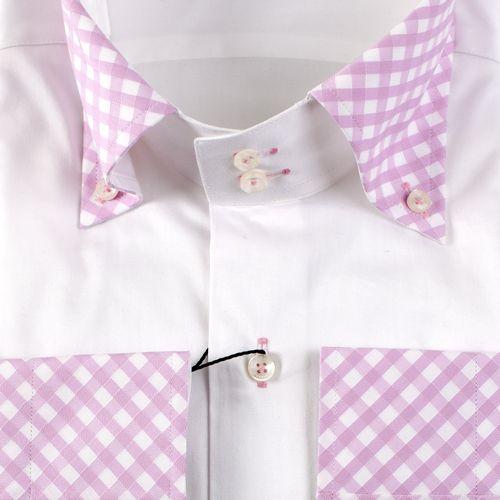 Рубашка бело-розовая приталенная