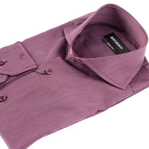 Рубашка бордовая в полоску приталенная
