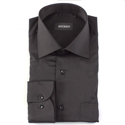 Рубашка чёрная однотонная неприталенная