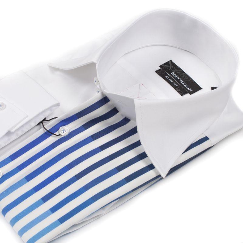 Рубашка белая с синими полосами приталенная
