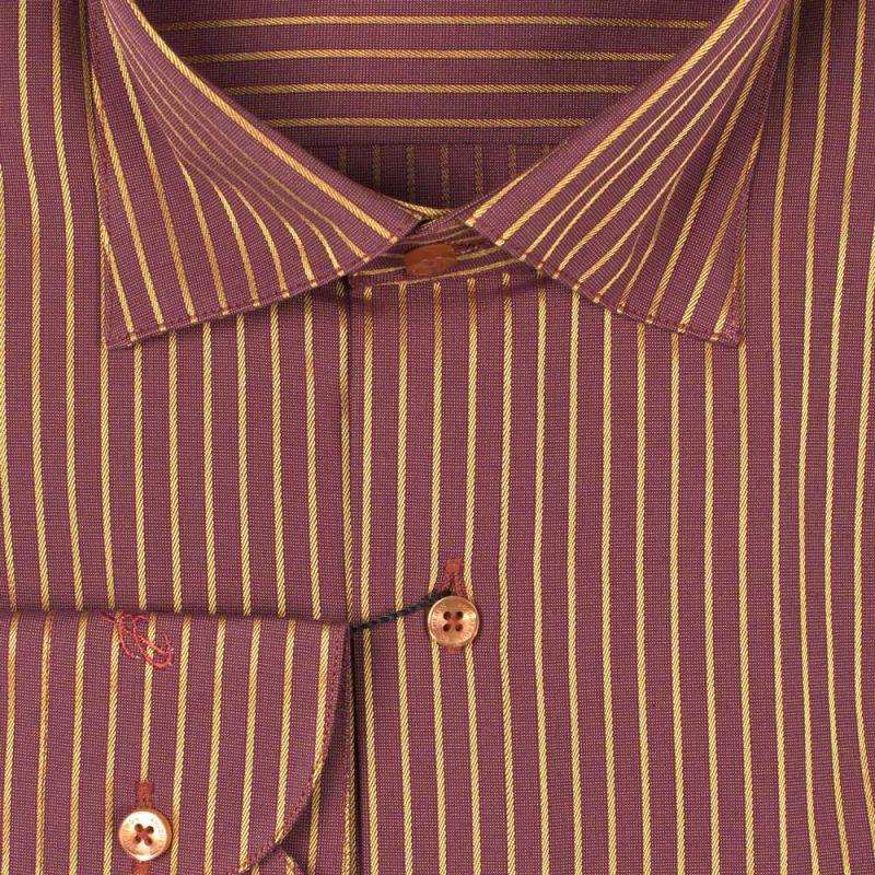 Рубашка бордовая в золотую полоску неприталенная