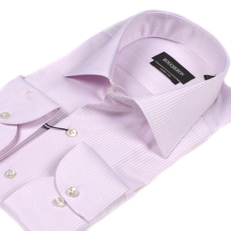 Рубашка розовая в полоску приталенная