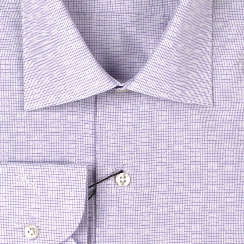 Рубашка лиловая с рисунком приталенная
