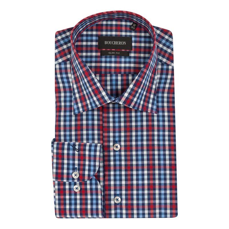 Рубашка сине-бело-красная в клетку приталенная