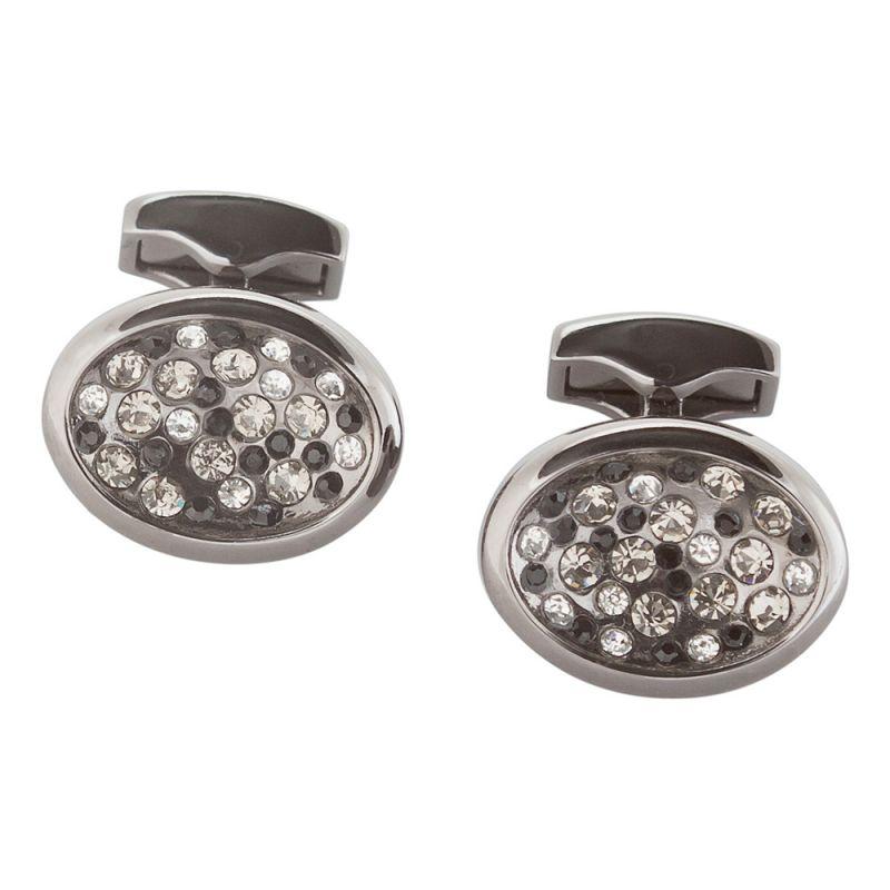 Запонки овальной формы, серебряного цвета, с кристаллами