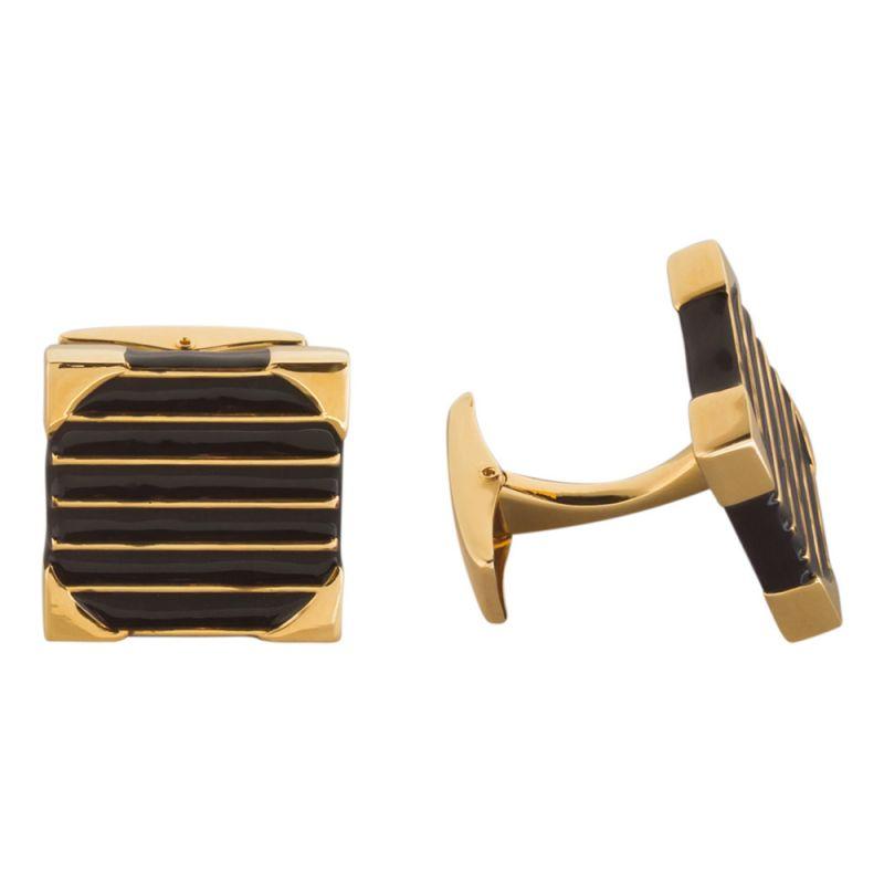 Квадратные золотые запонки с черной акриловой вставкой