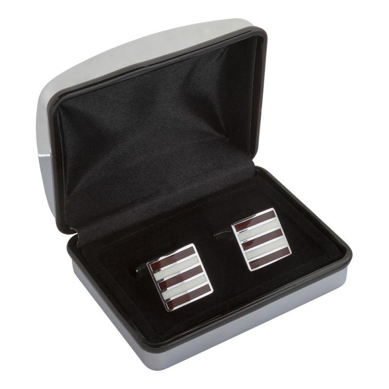 Квадратные запонки в белую и бордовую полоску
