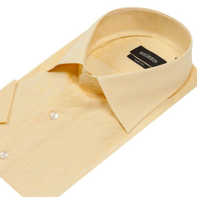 Рубашка жёлтая с короткими рукавами приталенная