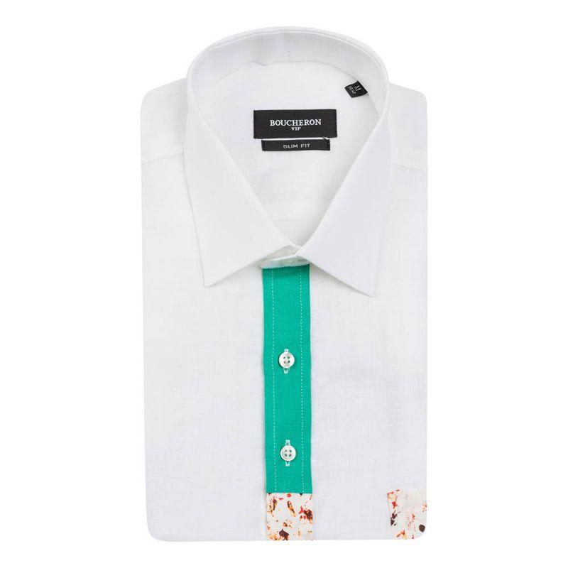 Рубашка льняная белая, с короткими рукавами, приталенная