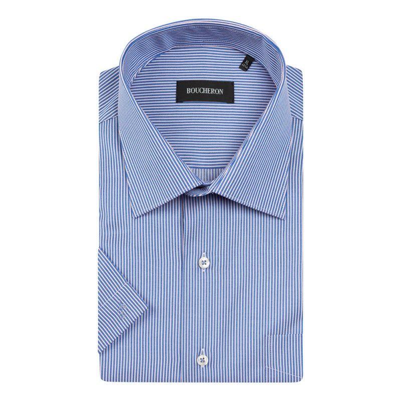 Рубашка синяя в полоску с короткими рукавами неприталенная
