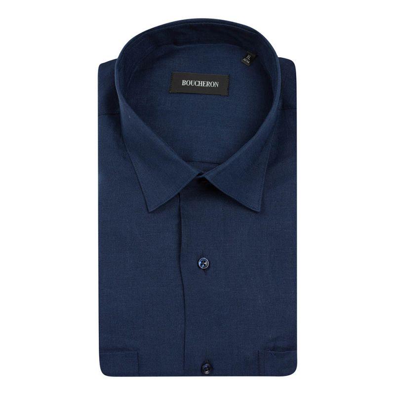Рубашка с короткими рукавами, синяя, льняная неприталенная