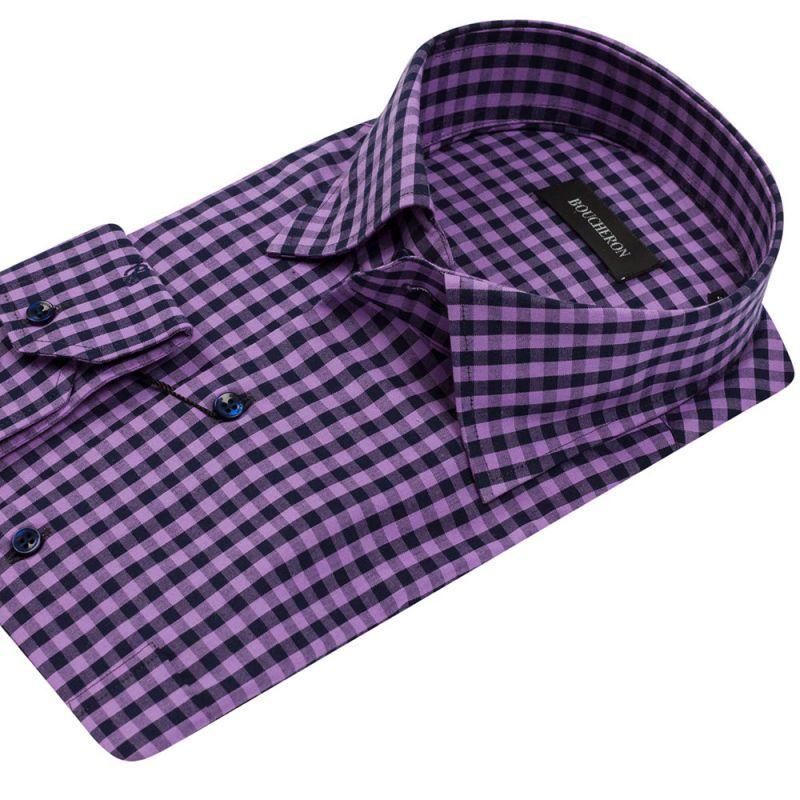 Рубашка фиолетовая в клетку неприталенная