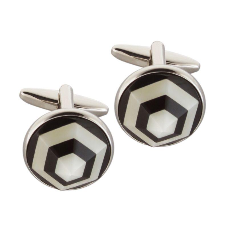Круглые объемные запонки серебряного цвета с эмалевыми вставками