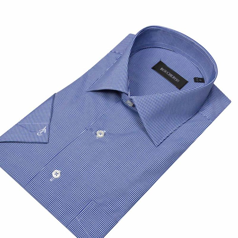 Рубашка голубая в мелкую клетку, с короткими рукавами, неприталенная