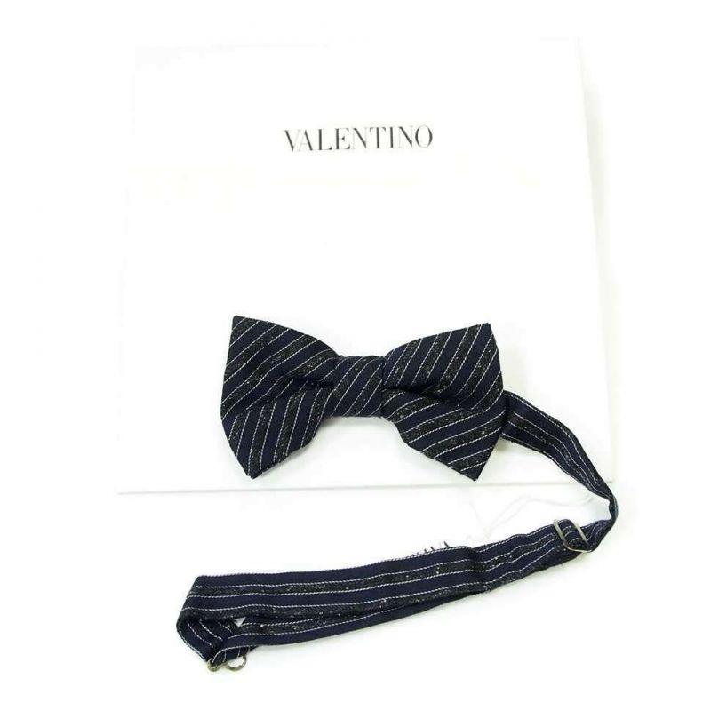 Тёмно-синяя бабочка Valentino с полосками