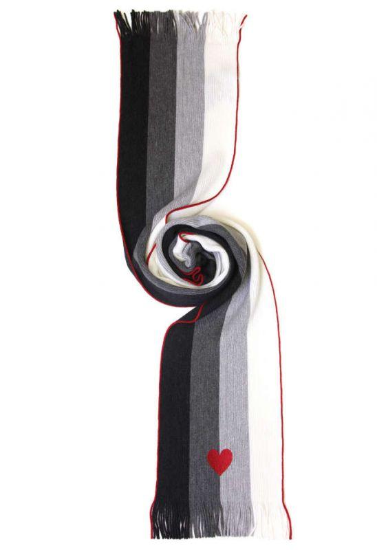 Тёплый шарф Moschino, черно-серо-белый, в полоску