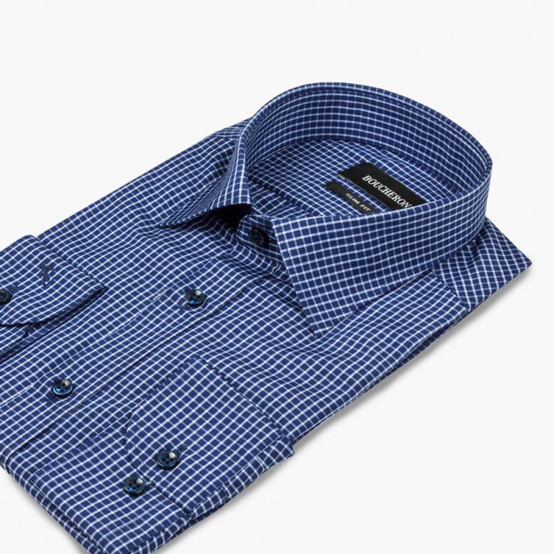 Рубашка синяя в мелкую клетку приталенная