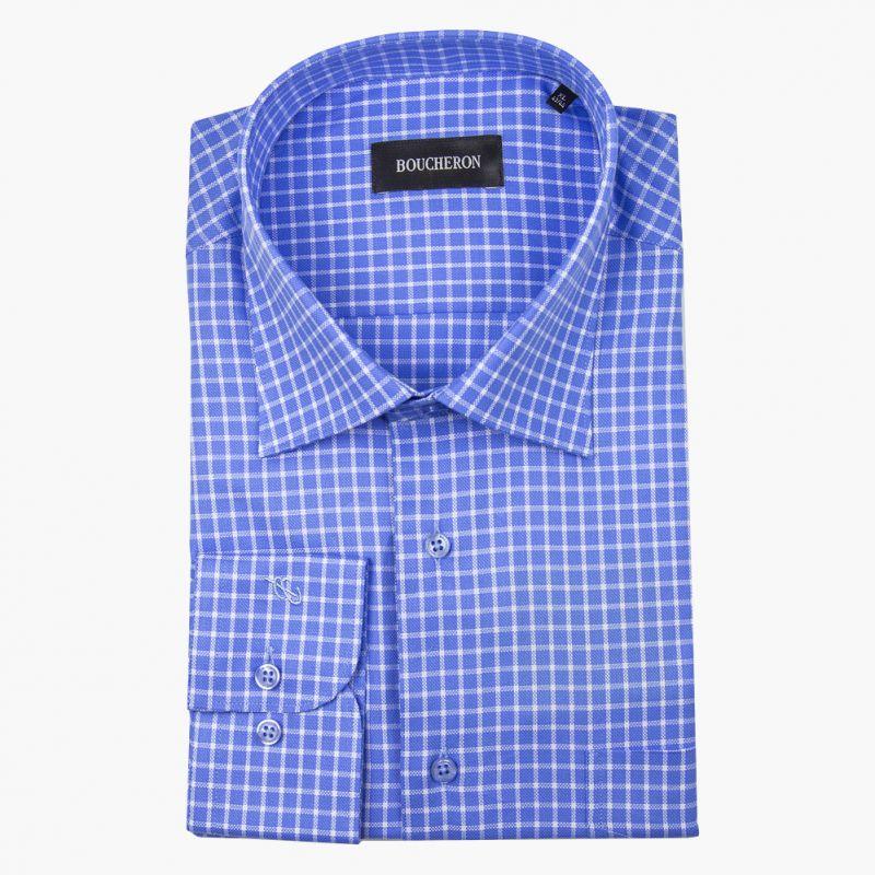 Синяя рубашка в клетку, неприталенная
